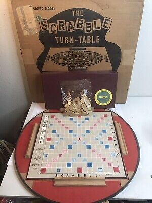Vtg Scrabble Game with Turntable Complete In Original Box 1950's