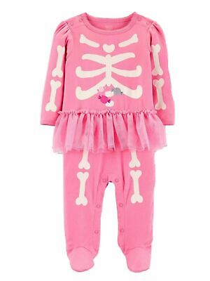 Carters Halloween Pajamas Skeleton (Carters Infant Girls Halloween Pink Skeleton Tutu Footed Sleeper Pajamas)