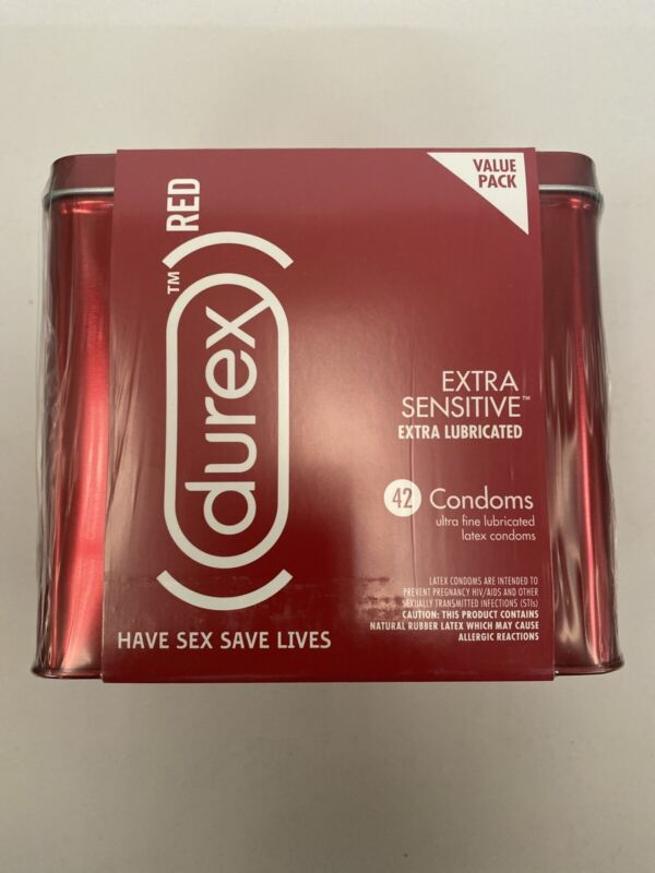 Durex Condoms Natural Lubricated Latex Extra Sensitive Ultra Fine Red 42 Exp8/23