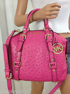 Nwt-Michael-Kors-Pink-Medium-Bedford-Ostrich-Leather-Satchel-Bowling-Shoulder