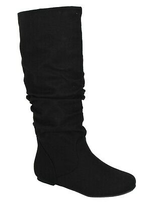 Soda Women Flat Slouchy Basic Knee High Boots Slip on Faux Suede Black ZULUU-S
