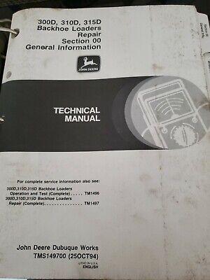 John Deere 300d 310d 315d Backhoe Loader Technical Service Repair Manual Tm1497