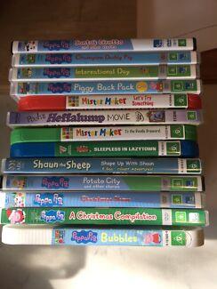 13 kids DVDs, mostly Peppa pig