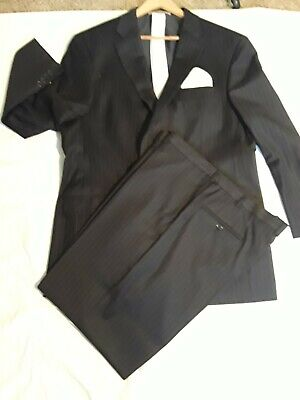 Mens Black Pinstripe Hickey Freeman 2pc suit with 2 ties and 1 handkerchief