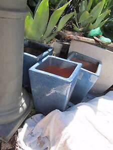 3 x terracotta blue pots GARDEN POTS GLAZED GARDEN POTS x 3 Northbridge Willoughby Area Preview
