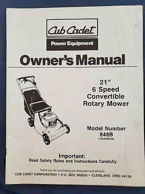 Cub Cadet Model 848b 21 6 Speed Convertible Rotary Mower - Owners Manual  H