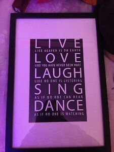 Frame with picture quote inside