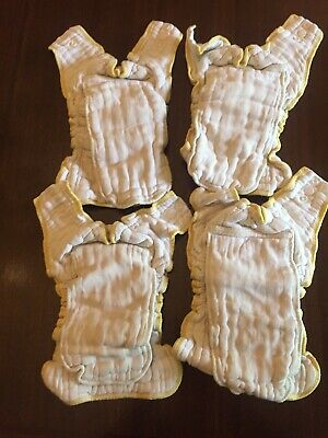 Lot of 4: Cloth-eez Workhorse Fitted Cloth Diapers Green Mountain Yellow Edge Sn