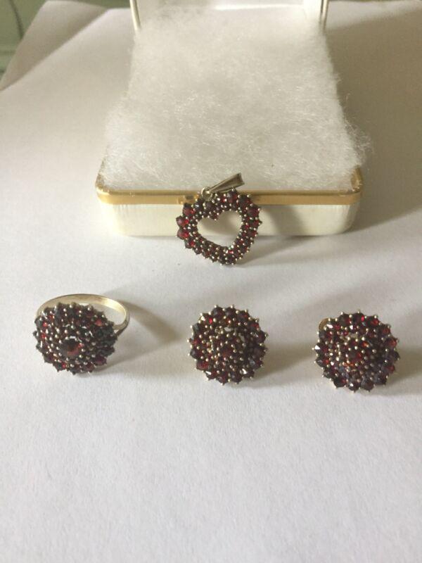 Antique Bohemian Red Garnet Ring Sz7, Earrings & Pendant Stunning!