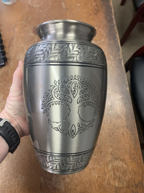 """Tree of Life Silver Pewter Cremation Urn for Ashes/Funeral Urns by Glow 10"""" Tall"""