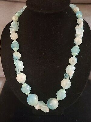 60s -70s Jewelry – Necklaces, Earrings, Rings, Bracelets Vintage German Acrylic Floral Bead Turquoise Teal Necklace 1960s $9.99 AT vintagedancer.com