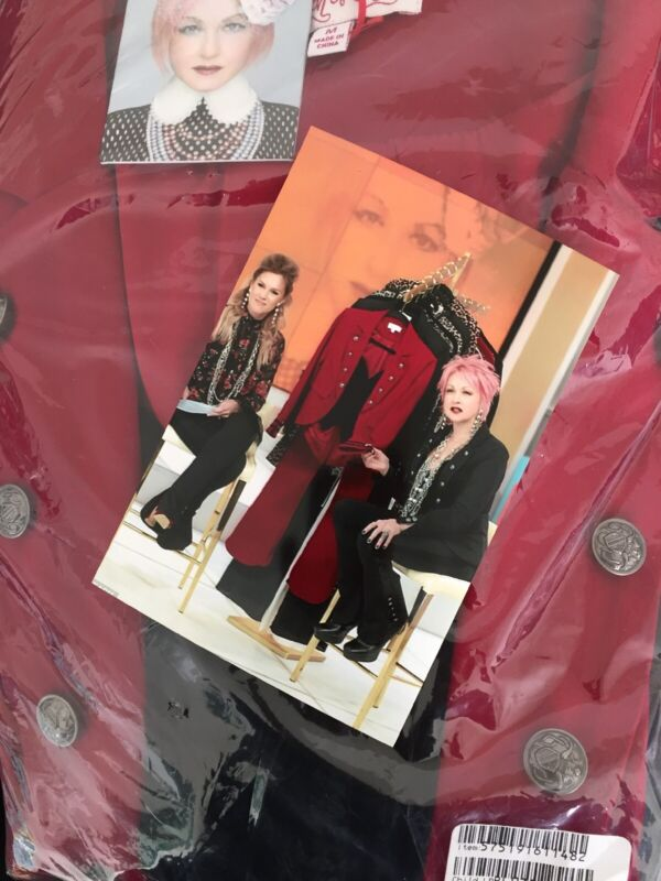 Cyndi Lauper TOUCH OF CYN Lace Crepe RED Blazer & Vest SIZE Medium HSN Exclusive