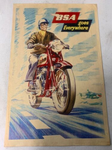Vintage BSA Motorcycle Advertising Poster Original 11 x 17 inches