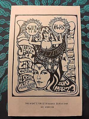 Jethro Tull~Linn County~A.B. Skhy Sacramento Sound Factory Handbill Mar.23, 1969