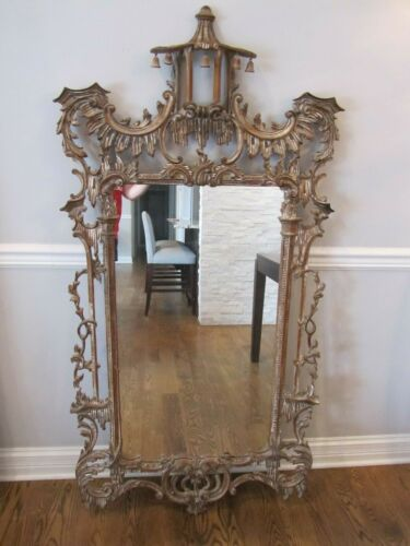 """Vintage Large Chinese Chippendale Carved Wood Mirror Made in Italy 63"""" x 32"""""""
