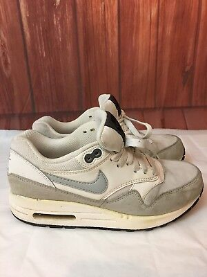 0c08438885cb Nike Air Max 1 Essential Womens 599820-111 White Grey Running Shoes Size 6