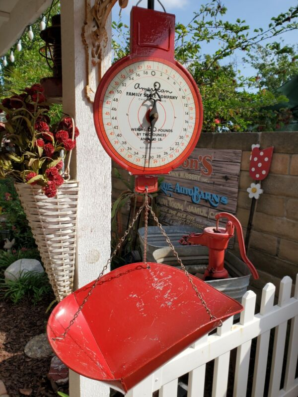 """Vintage American Family Scale Company Mercantile Or Hardware Hanging red 16/12"""""""