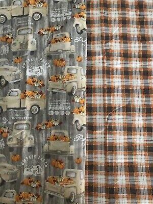 1 yd Fabric 100% Cotton Pumpkins Patch Farm / Plaid 1/2yd Each Design