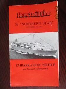 SHAW SAVILL LINE SS 'NORTHERN STAR'  EMBARKATION NOTICE NOV.1973