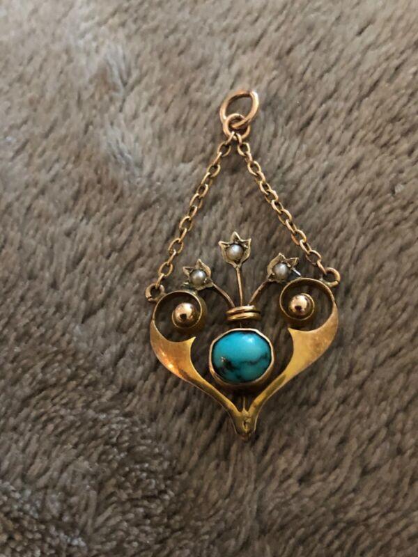 art nouveau 9ct gold turquoise & pearl pendant