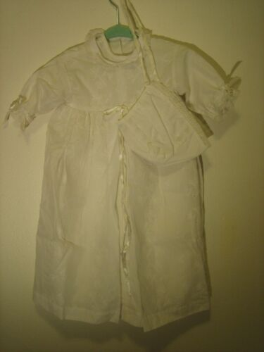 VINTAGE CHRISTENING GOWN JOSEPH MAGNIN  COTTON EYELET WITH MATCHING BONNET