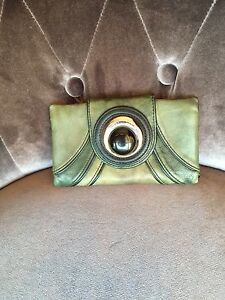 Mimco Olive Green Black & Silver Button Leather Wallet Purse Yokine Stirling Area Preview