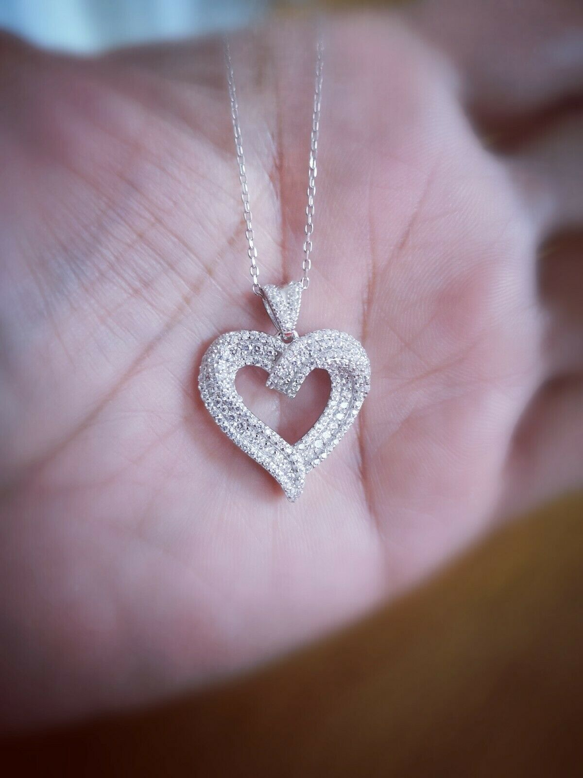 2 Ct Diamond Heart Necklace with 14K White Gold over Chain Womens Heart Pendant
