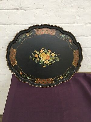 19th C., VICTORIAN, PAPIER-MÂCHÉ, LACQUERED SERVING TRAY WITH FLORAL MOTIF