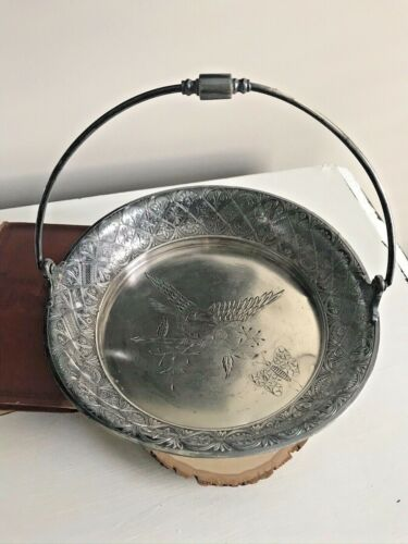 Aesthetic Movement Antique Silver Plated Bride / Bread Basket Bird Butterfly