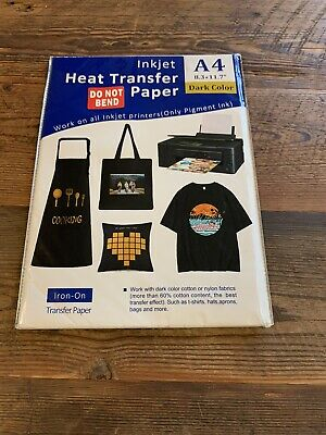 New 20 Sheets A4 Inkjet Heat Iron On Transfer Paper For Dark Color Fabrics Seal
