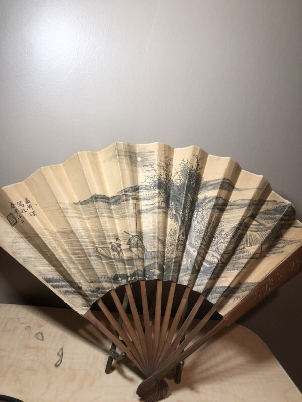 CHINESE ANTIQUE Woodblock Print CARVED BAMBOO HAND FAN Signed