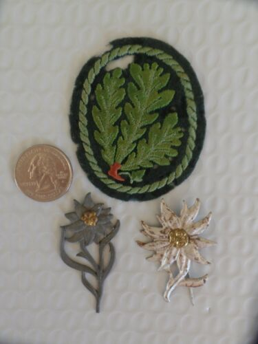 3pcs-Metal Edelweiss Insignia-Heer Jager Troops Sleeve Patch