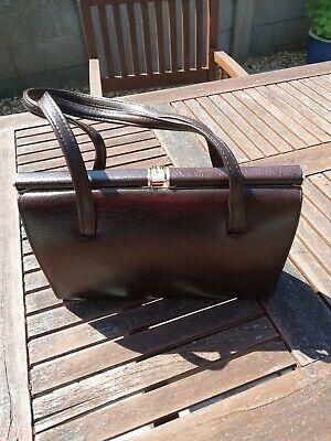 Vintage 1950's Style Handbag Classic Brown Gold Clasp Unused Secretary