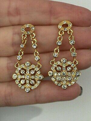 Beautiful Clear Crystal Chain Style Brass Goldtone Dangle Earrings