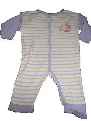 Nettes Mädchen Schlafanzug (Coconette toller Schlafanzug Gr. 62 / 68 weiß-lila geringelt mit Reh Druckmotiv )