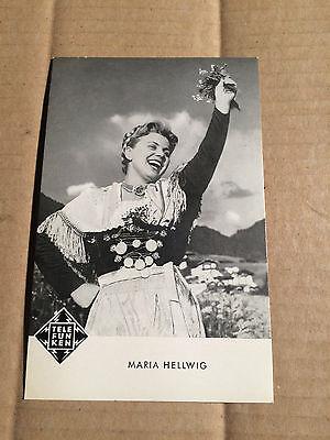 MARIA HELLWIG - AUTOGRAMMKARTE  - ca. 9 x 14 cm