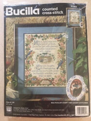 Vtg BUCILLA Psalm 100 Counted Cross Stitch Kit 1995 Sealed