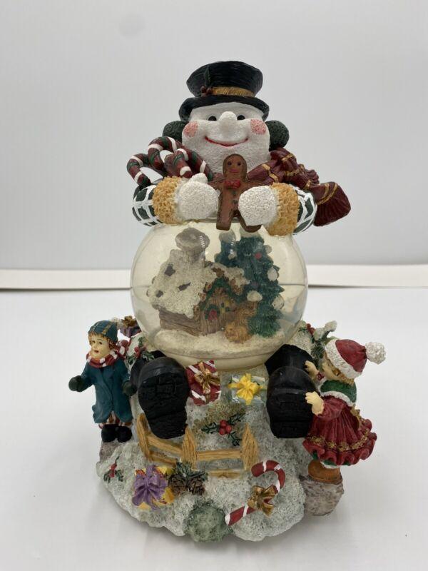 Snowman Snow Globe Ceramic Christmas 10 Inches Ceramic Base Plays Music Vintage