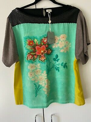 Anthropologie Hoss Intropia Women's Silk Blouse Top Sequins XS BOHO