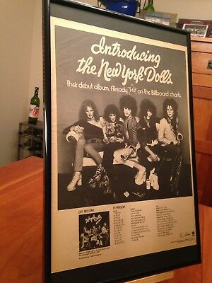 "BIG 11X17 FRAMED ""NEW YORK DOLLS"" DEBUT LP ALBUM CD PROMO AD w/ 1973 TOUR DATES!"
