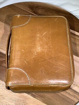 Day Timer Vtg Leather Zipper Planner Organizer Distressed 7 Ring 10 X 7.5