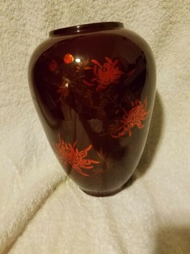 Vietnamese Lacquer Thanh Le Red Flower Vase