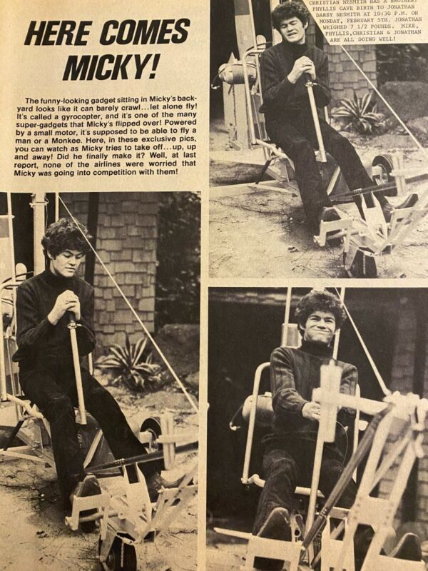Micky Dolenz, The Monkees, Full Page Vintage Clipping