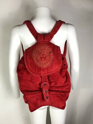 Rare Vtg Gianni Versace Red Cotton Terry Medusa Embroidered Backpack