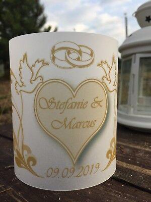4 xTischlicht Hochzeit Tischdeko Windlicht Deko mit Namen, Datum Gastgeschenk (Hochzeitstisch Dekoration)