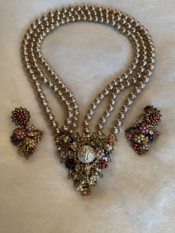 ANTIQUE MIRIAM HASKELL Pearl Seed Pearl Rhinestone Necklace Earrings Unsigned