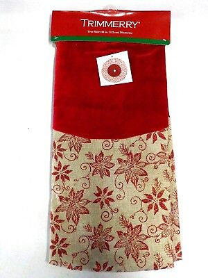 TRIMMERRY BRAND RED FLORAL VELVET AND BURLAP TREE SKIRT NEW NWT #5788