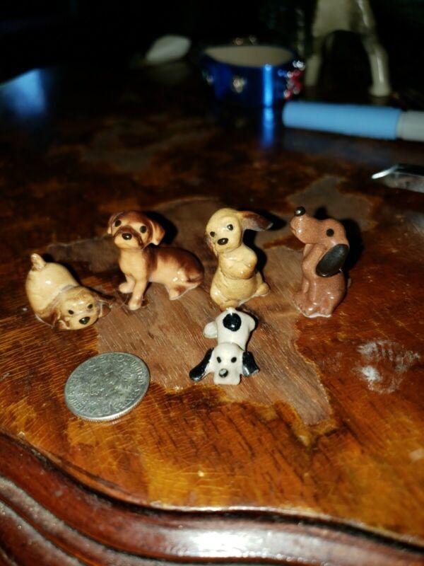 Lot of 5 Vintage Miniature Ceramic Dog
