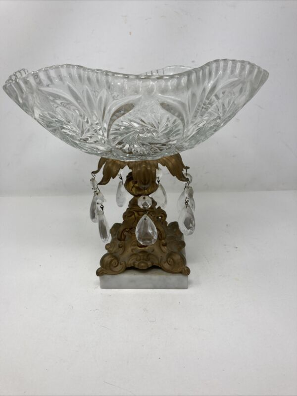Vintage  Cut Glass Bowl Compote Metal Pedestal Marble Base 7 Prisms