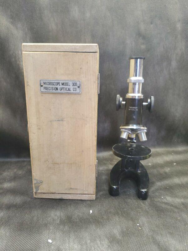 PRECISION OPTICAL CO. MICROSCOPE ORIG WOOD BOX CASE VINTAGE